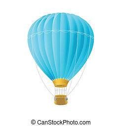 blu, ballon, isolato, aria, vettore, bianco