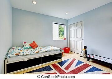 blu, bambini, pavimento, legno duro, closet., moderno, walk-in, toni, camera letto, interno