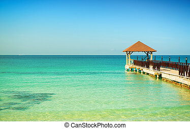 blu, banchina, turchese, sky., legno, chiaro, morto, sereno, orizzonte, mare, calm.