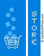 blu, bandiera, negozio