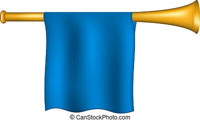 blu, bandiera, tromba