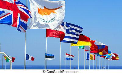 blu, bandiere, eu, cielo, contro
