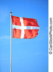 blu, bandierina danese, cielo, fondo