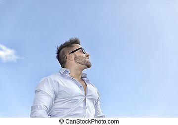 blu, barbuto, cielo, uomo