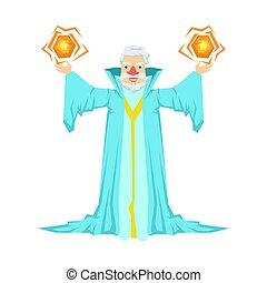 blu, barbuto, palle, vecchio, colorito, mago, carattere, due, illustrazione, racconto, suo, presa a terra, magia, toga, fata, hands.