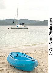 blu, barca vela, spiaggia, fondo, canoa