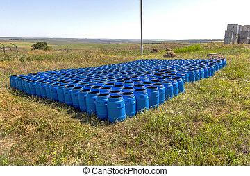 blu, barili, prodotti chimici, magazzino, plastica
