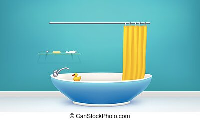 blu, bathtube, bagno