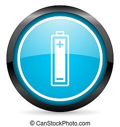 blu, batteria, lucido, fondo, cerchio, bianco, icona
