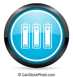 blu, batterie, lucido, fondo, cerchio, bianco, icona