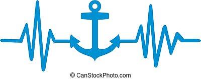 blu, battito cardiaco, linea, ancorare