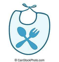 blu, bavaglino, bambino, bordo, cartone animato, icona