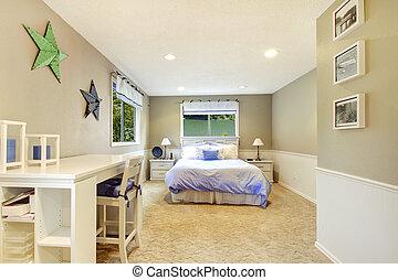 blu, bed., beige, camera letto, interno, bianco