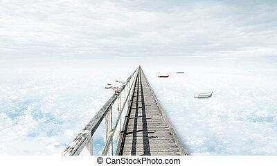 blu, bello, concezione, cielo, composito, infinità, fantasia, nubi, ponte