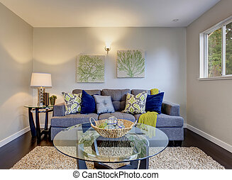 blu, bello, sofa., stanza