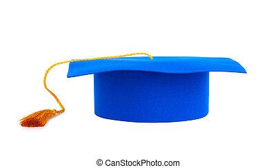 blu, berretto laurea, con, oro, nappa, isolato, su, uno, sfondo bianco