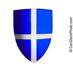 blu, bianco, crociato, isolato