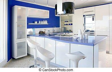 blu, bianco, cucina, moderno, disegno interno, casa