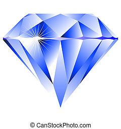 blu, bianco, diamante, isolato