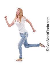 blu, bianco, donna, jeans, isolato