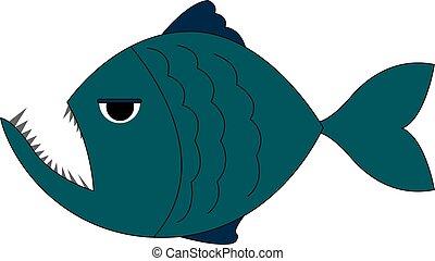 blu, bianco, fondo., vettore, piranha, illustrazione