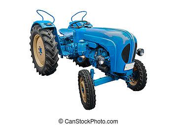 blu, bianco, isolato, trattore