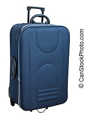 blu, bianco, isolato, valigia