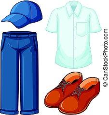 blu, bianco, jeans, camicia