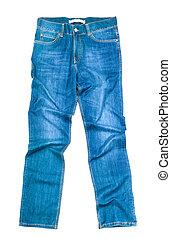 blu, bianco, jeans, isolato