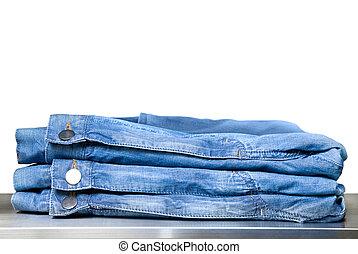blu, bianco, jeans, isolato, negozio