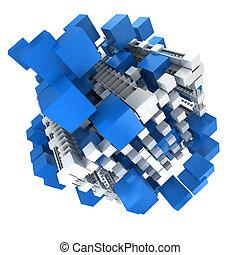 blu, bianco, struttura