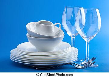 blu, bianco, tableware, sopra, fondo