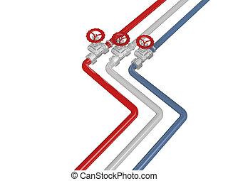blu, bianco, tubi per condutture, rosso