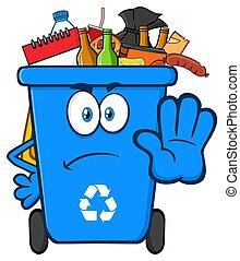 blu, bidone, pieno, immondizia, carattere, arrabbiato, fermata, cartone animato, riciclare, gesturing, mascotte