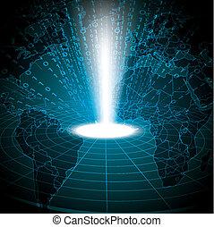 blu, binario, astratto, globale, tecnologia, fondo
