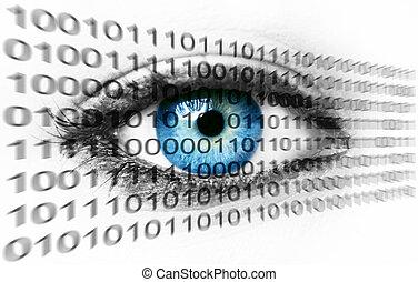 blu, binario, concetto, occhio, -, sistema, numeri, umano,...