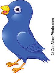 blu, bird., isolato, cartone animato, w