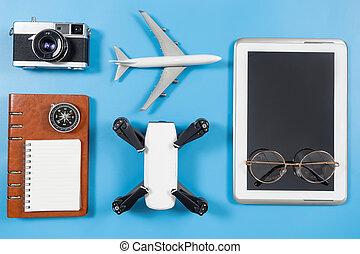 blu,  blogger, viaggiare, aggeggi, oggetti, tecnologia
