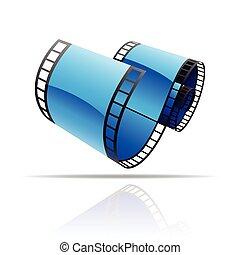 blu, bobina, film