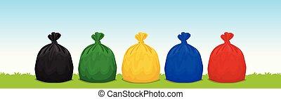 blu, borse, set, colorato, immondizia, spazio, plastica, copia, erba, cielo, isolato, 3r, plastica, fondo, giallo, pubblicità, nero, verde, spreco, bandiera, rosso