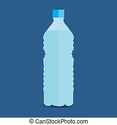 blu, bottiglia, acqua pura, vettore, fondo, piccolo