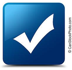 blu, bottone, convalida, quadrato, icona