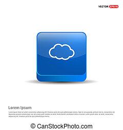 blu, bottone, -, icona, nuvola, 3d