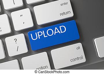 blu, bottone, keyboard., 3d., upload