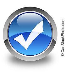 blu, bottone, lucido, convalida, rotondo, icona