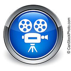 blu, bottone, macchina fotografica, video, lucido, icona