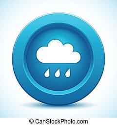 blu, bottone, nuvola
