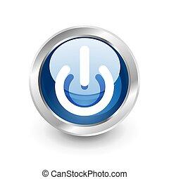 blu, bottone potere, inizio, icona, simbolo