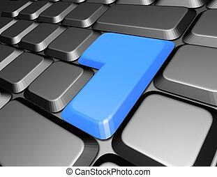 blu, bottone, tastiera, vuoto