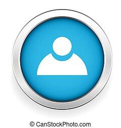 blu, bottone, vettore, utente, icona